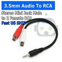 3.5mm AUX Stereo to 2 RCA Female Audio Y Cable Adapter Cord MP3 iPod $2.95