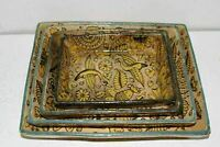 VINTAGE HAND PAINTED MEXICAN TLAQUEPAQUE FANTASIA TOURIST POTTERY NESTING TRAYS