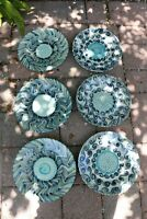 6 Art Pottery Dinner Plates & Bowls Signed Edith Griathmay Blue Turquoise Swirl
