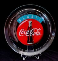 "Vintage ALWAYS COCA COLA Glass Serving Tray Platter Round 13"" Circa 1993 COKE"