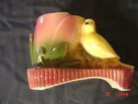 VINTAGE SHAWNEE PLANTER,  ART POTTERY, YELLOW CANARY BIRD and FLOWER
