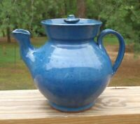 Billy Ray Hussey Owens Pottery North Carolina Blue 6 CUP TEAPOT with LID Signed