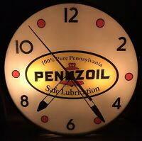 Pennzoil Oil Gas Lighted Clock Working