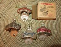 Vintage Starr X bottle opener lot. Mr. Cola, Coca-Cola, Pepsi, and Barq's.