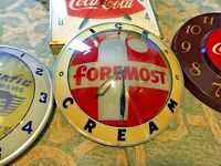 Vintage Foremost Ice Cream Double Bubble Light Up Clock Sign Advertising Product