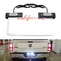 Amber/White LED License Plate Mount Strobe Warning Light Kit For Truck SUV Car