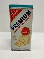 Vintage Nabisco Premium Saltine Crackers Tin w/ Lid c 1969 Light Blue Lid 9.5