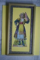 1895 FRAMED VICTORIAN TRADE CARD DIE CUT NEW ENGLAND MINCE MEAT PAPER DOLL