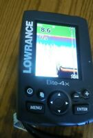 Used Lowrance Elite-4x Fish/Depth finder w/ Transducer & Power Cable & Mount