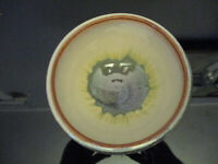 Modern Studio Art Pottery Flowing Tan Glazing Speckled Bowl Signed Bill Campbell