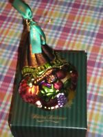 Waterford Cornucopia Blown Glass Ornament Thanksgiving Holiday Horn Of Plenty