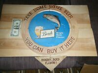 Vintage Rare BOSCH Beer Cardboard HANGING SIGN 2 SIDED WITH FISH