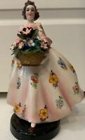 Antique/Old Vintage Handmade Italy Pottery hp ROYAL LADY FIGURINE. Flower Lady
