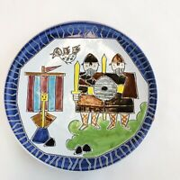Norway Vintage Handmade Hand Painted Oslo Wall Plate Vikings and Ship