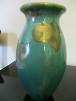 Vintage Studio Art Pottery Crystalline Glaze Green Vase Signed Bill Campbell Era