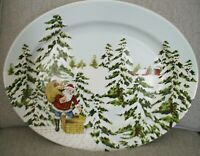 Williams Sonoma New Up On A Rooftop Vintage Christmas Platter Santa