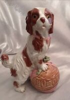 Staffordshire Style Asian Foo Dog Ceramic Figurine With Chinoiserie Ball