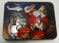 Coca Cola Santa Christmas Tin with 2 sets of Coke Playing Cards, Unopened