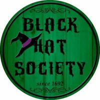Halloween Black Hat Society Witch Metal Circle Sign 12