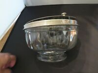 Vintage Soda Fountain Ice Cream Toppings Container Crystal Metal Hinged Top