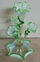 Large Victorian Green Opalescent Glass Epergne stevens & williams 1880's nouveau