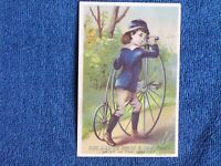 Little Blue Boy with Velocipede High Wheel Bicycle/Lautz Bros & Co's Soaps/1880s