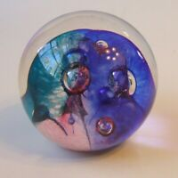 Glass Eye Studio GES Round Paperweight 1998 Spike Bubbles