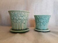Vtg Matching McCoy Green Daisies Pottery Bowl Planter Fine Condition Art x2 Rare