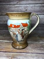 Antique Pottery Pitcher Stoneware England 1920 Colonial Farmhouse Hand Painted