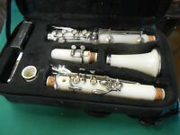 Great CECILIO White CLARINET Regulation Size with Carry Bag