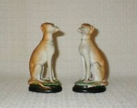Antique Staffordshire Sitting Whippet Dog Porcelain Figurines ~ Pair