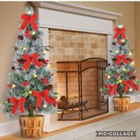 "36"" PRE-DECORATED LED LIGHTED OUTDOOR FROSTED PINE CHRISTMAS TREE HOME DECOR"