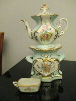 Vintage Limoges French Porcelain Hand Painted Individual Tea Pot Warming Stand!