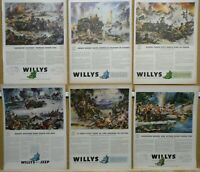 Willys Jeep Ad Lot (6) WWII Print Ads 1942 1943 1944 1945