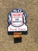 Porcelain Standard SOCONY for Ford Cars sign Paddle Gas oil auto