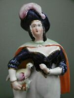 SUPERB 19thc STAFFORDSHIRE FIGURE OF A FEMALE WITH BIRD C.1870