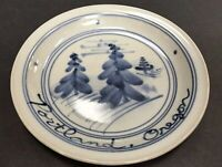 Portland OR Handcrafted Signed Pottery Plate Trees Blue Gray Studio Piece 1984