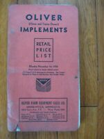 1934 Oliver Dealer Implements price list Plow Drill Cultivator harrow stover