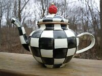 Mackenzie Childs Enamel Courtly Check 4 Cup Teapot - Damaged