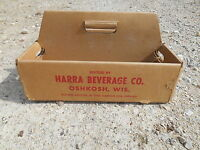 Old Vintage Harra Beverage Co. Oshkosh Wisconsin Bottles Carton Crate Box Soda