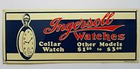 🔥 Rare Vintage Ingersoll Watches Tin Litho Embossed Sign! Collar watch