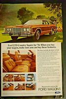 Advertising Ford LTD Country Squire 1974 Magazine Wagon Car Vintage