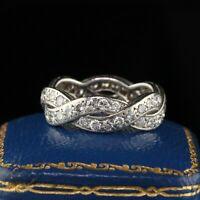Van Cleef and Arpels Vintage Platinum Diamond Eternity Wedding Band Size 5.5