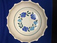 Stangl 9-1/2 Inch Hand Painted Pie Crust Blue Floral Bowl