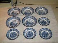 Lot of 9 Staffordshire Liberty Blue bowls 5 Mt Vernon cereal 4 Betsy Ross berry