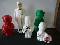 KFC Colonel Sanders advertising bank 5pc lot vtg plastic mold