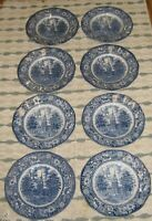 Lot of 8 Staffordshire Liberty Blue dinner plates independence hall