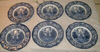 Lot of 6 Staffordshire Liberty Blue dinner plates independence hall