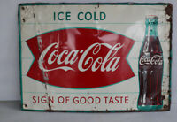 Vintage 20x28 COCA COLA Fishtail Sign With Bottle