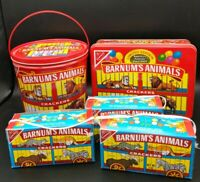 2 Vintage Barnum's Animal Crackers Tins w/ Lids & 3 Boxes from Crackers Nabisco